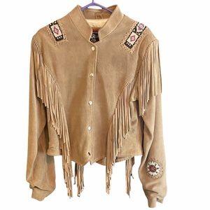 Authentic vintage suede fringe beaded jacket